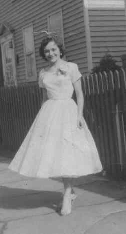 Photo of Renie in prom dress.