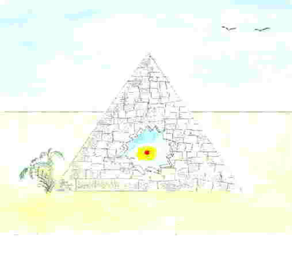 Pyramid Image with treasure inside.